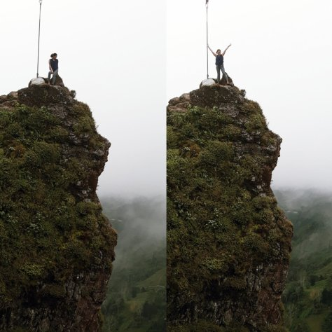 Me standing at the peak of Mt Kandungaw. Loving the view frombthe top and that 850 ft drop.